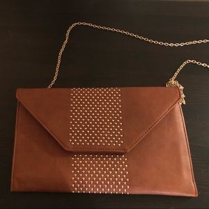 Brown Clutch with Gold strap